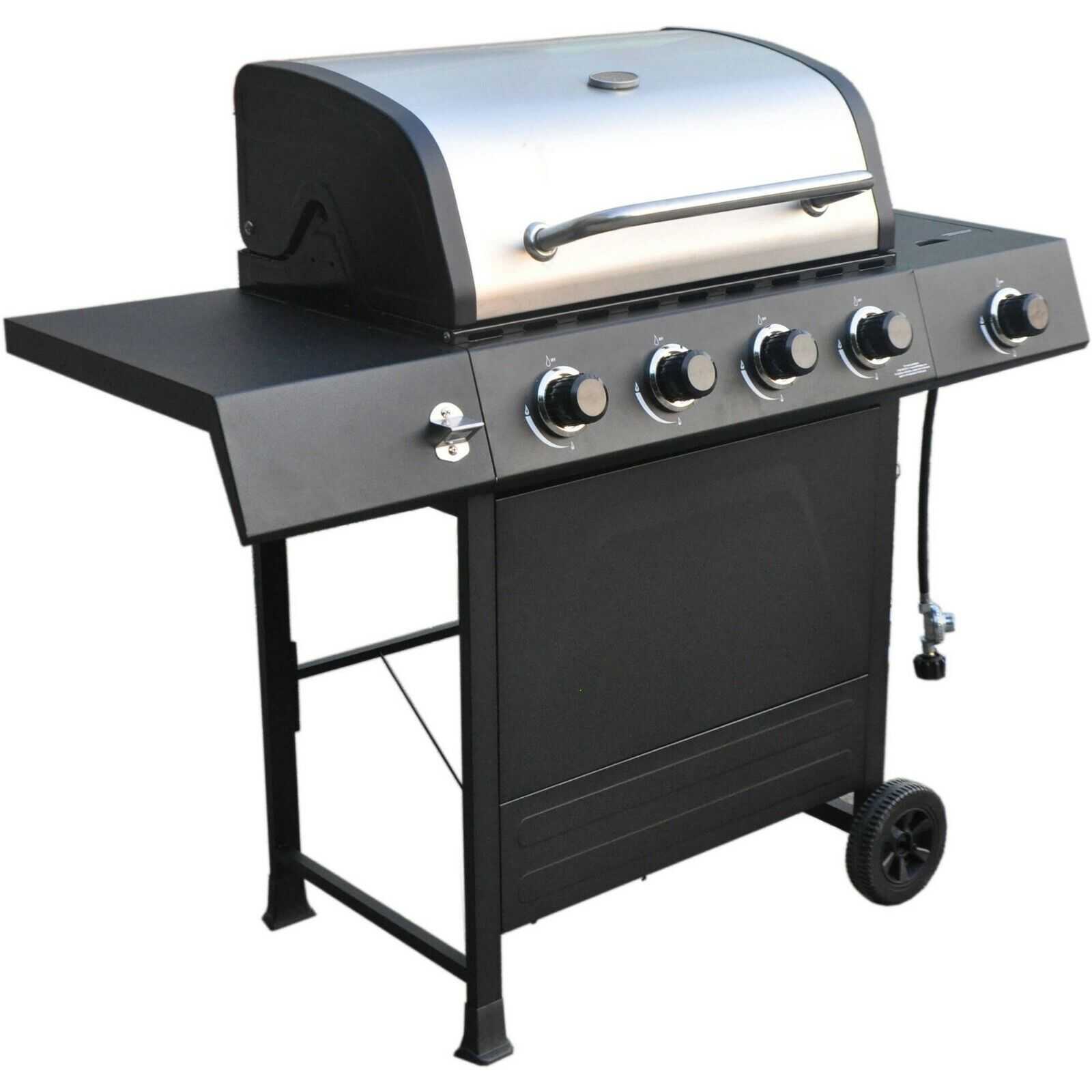 RevoAce 4-Burner LP Gas Grill with Side Burner, Stainless Steel & Black