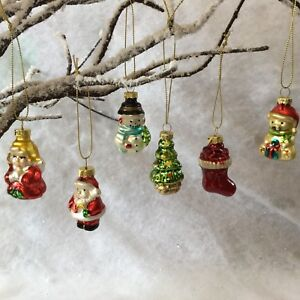 6 X Vintage Retro Style Glass Christmas Tree Decorations Painted Sass & Belle