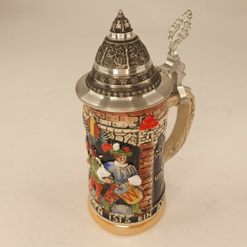 "7"" GERMAN 1/4L BEER STEIN CASTLE TOWER TURRET LID ~ WERNER CORZELIUS"