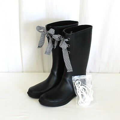 J CREW TALL LACE UP RAIN BOOTS BLACK WITH 2 SETS OF LACES 8 SOLD OUT SIZE $79.50