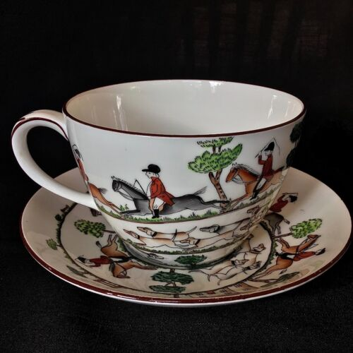 Crown Staffordshire Queensberry Hunting Scenes Large Cup & Saucer / England
