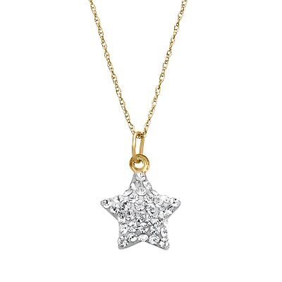 Crystaluxe Puffed Star Charm Pendant with Swarovski Crystals in 10K Gold