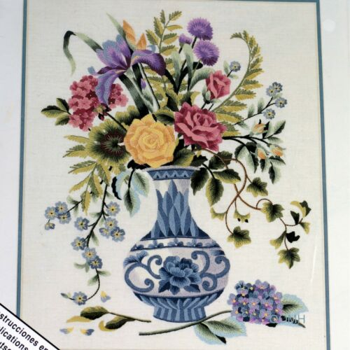 Elsa Williams CHINA BLUE FLORAL Crewel Embroidery Kit Michael A LeClair Roses
