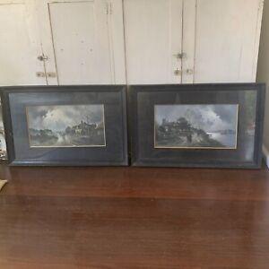 Pair of antique framed prints