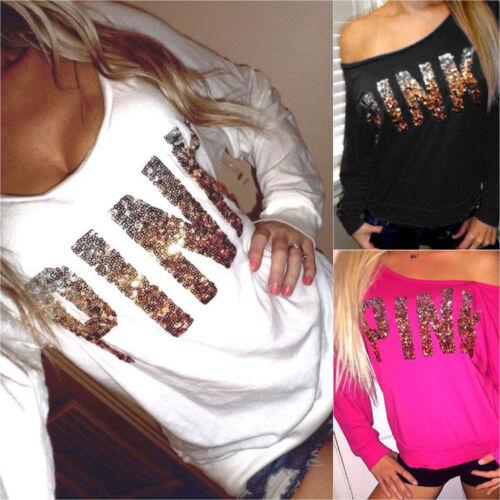 Pailletten PINK T-Shirt Damen Schulterfrei Langarm Shirts Sweatshirt Pullover DE