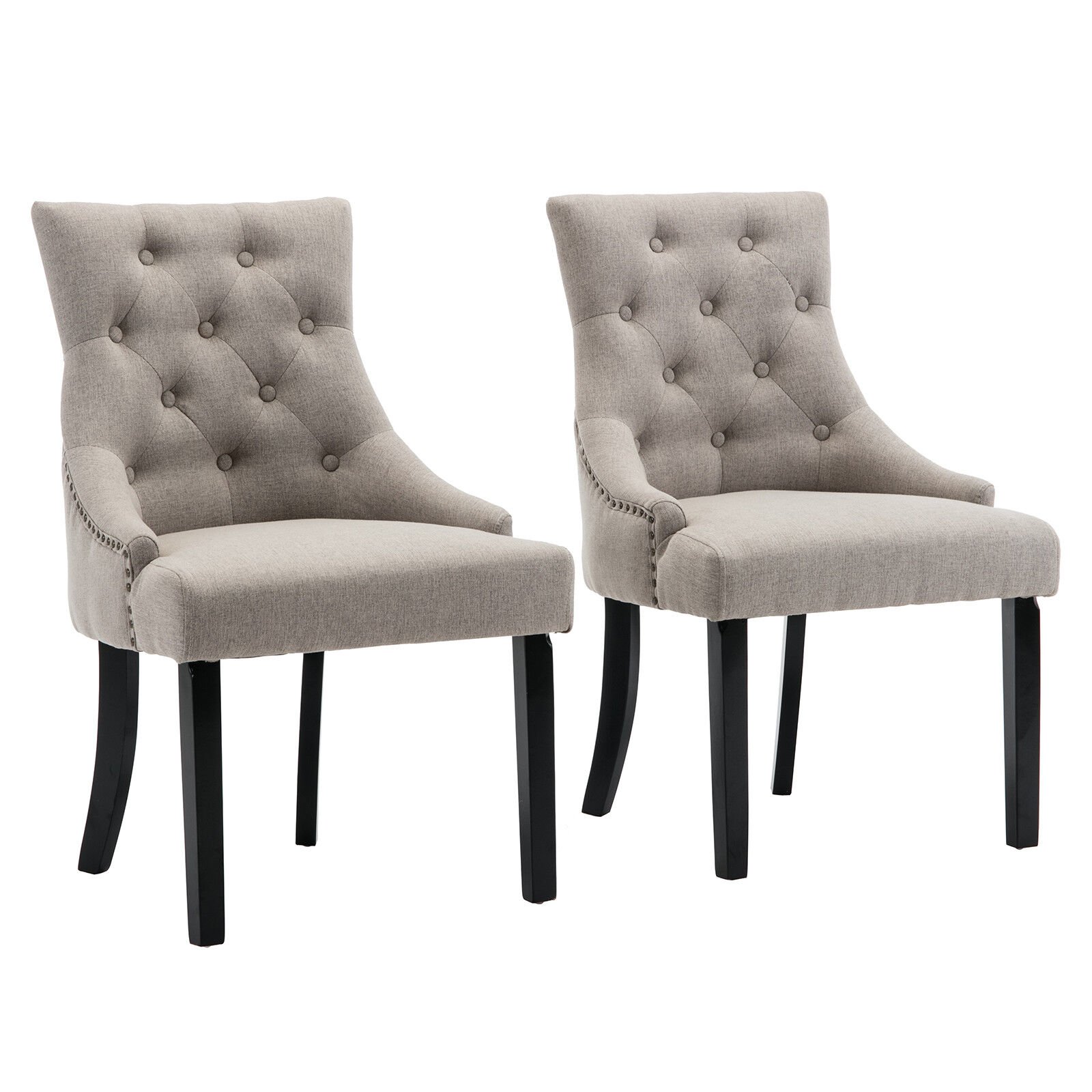 Details About Modern Set Of 2 Fabric Curved Dining Chair Tufted Upholstered Button W Backrest
