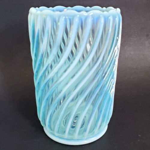 A J Beatty Opalescent Glass Celery Vase Spooner Blue Swirl Victorian Antique