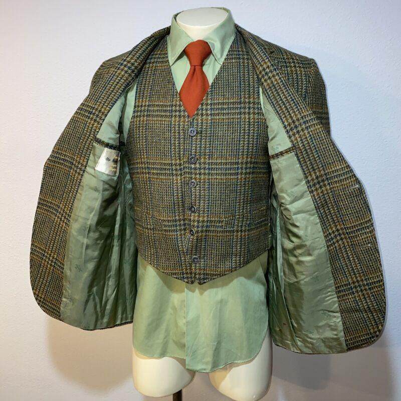 Vtg 60s 70s The Squire 2 PIECE Suit WOOL Vest Blazer Jacket Blazer Plaid Mens 40
