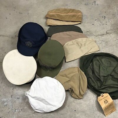 Original WWII Korean Vietnam Lot of 14 Hats Caps Military USN Garrison Army USMC
