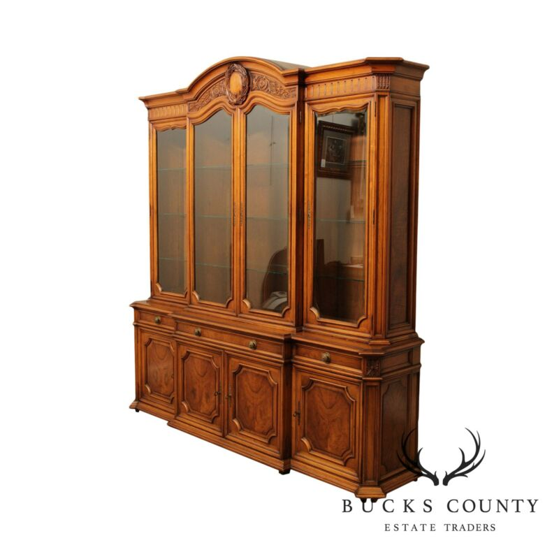 Karges Vintage French Louis XV Style Walnut Breakfront