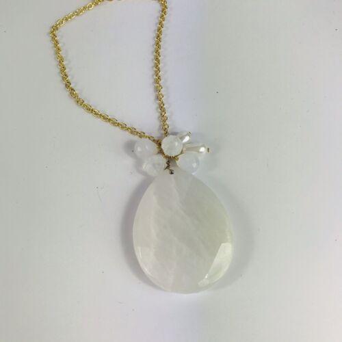 Jewellery - Gold Tone White Quartz Style Pendant Statement Necklace Costume Jewellery Boho