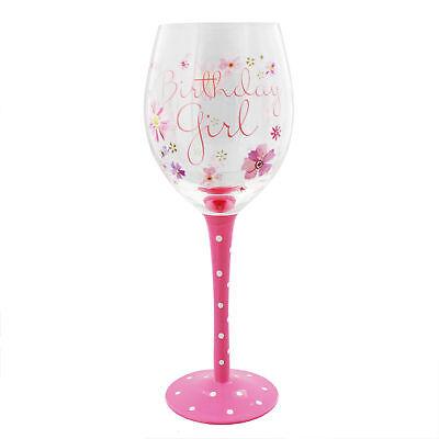Celebration Birthday Girl Pink Flower Design Wine Glass Gift G326BG  ()