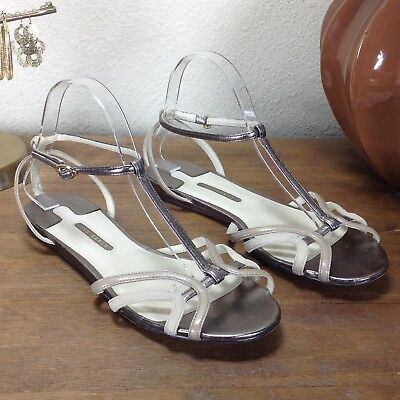 Ted Baker Women Pewter & Cream Leather & Suede Strapped Sandals Size 9 Ted Leather Sandals