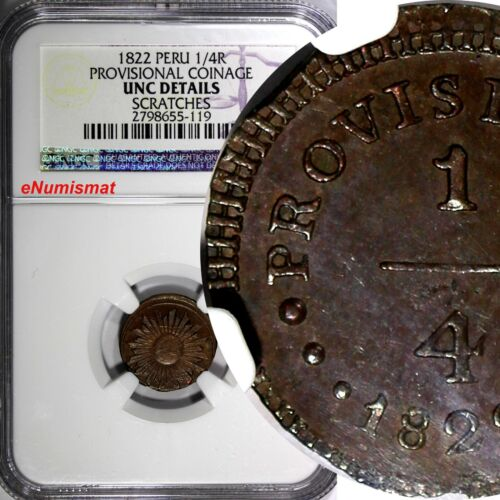 PERU Provisional coinage 1822 1/4 Real One Year Type NGC UNC DETAILS KM#135(119)