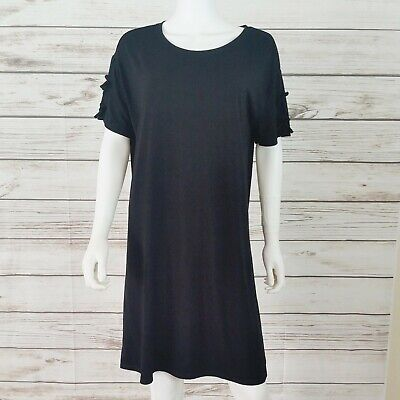 Fabletics Womens Short T-Shirt Dress Sz XL Black Stretch Short Sleeve with Bows
