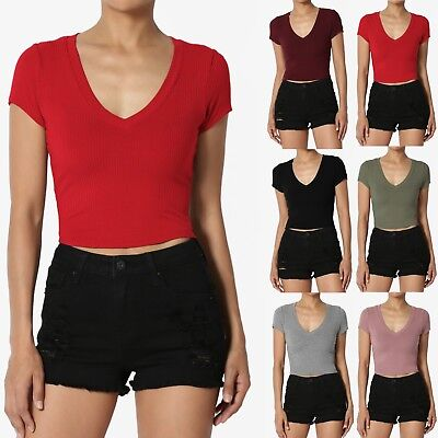 TheMogan Ribbed V-Neck Short Sleeve Crop Top Soft Jersey Cropped Tee T-Shirt
