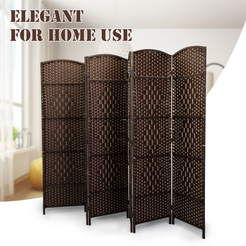 6-Panel Room Divider Partial Partition Weaved Folding Screen in Vintage Style