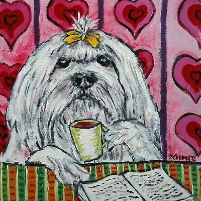 maltese at the cafe coffee shop dog art tile coaster gifts gift coasters