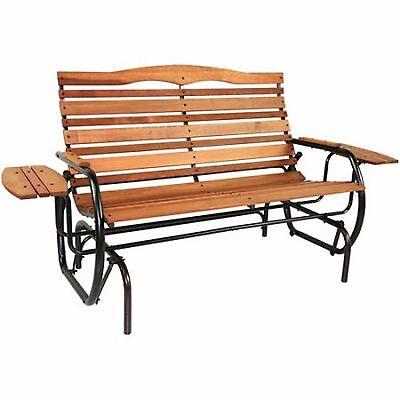 Jack Post Glider Outdoor Wood Bench Patio Rocker Chair Seat Tray Porch (Jack Post Glider)