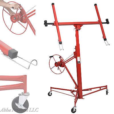 11' Heavy Duty Portable Drywall Panel Lift Sheetrock Hoist Holder Rolling Wheels, used for sale  USA