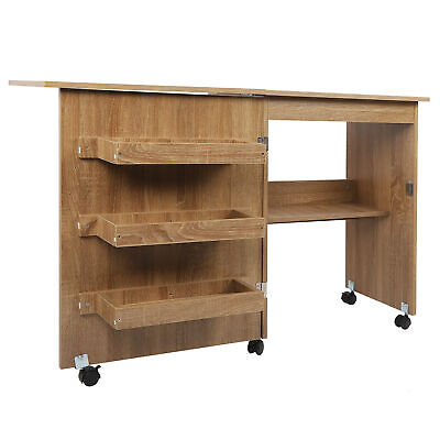 Foldable Sewing Craft Cart with Storage Shelves Wood Sewing Desk Table Brown