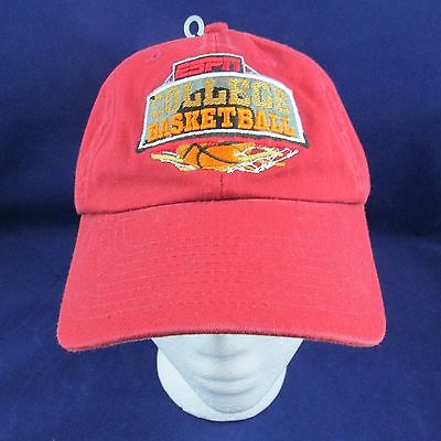 Espn Ncaa College Basketball Red Baseball Hat Cap Adjustable