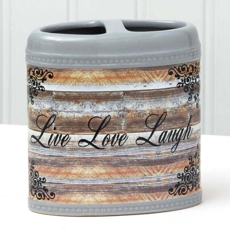 """Farmhouse Toothbrush Holder with Sentiment - """"Live Love Laugh"""""""