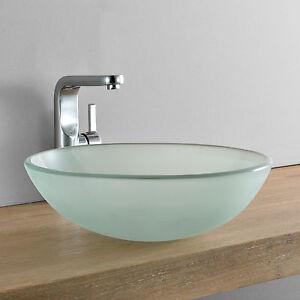 [neu.haus]® Waschbecken rund Waschschale Ø42cm Milch Glas Aufsatzbecken WC & Bad