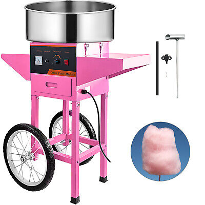 Cotton Candy Machine Cart Stainless Steel Store Booth Floss Maker Children