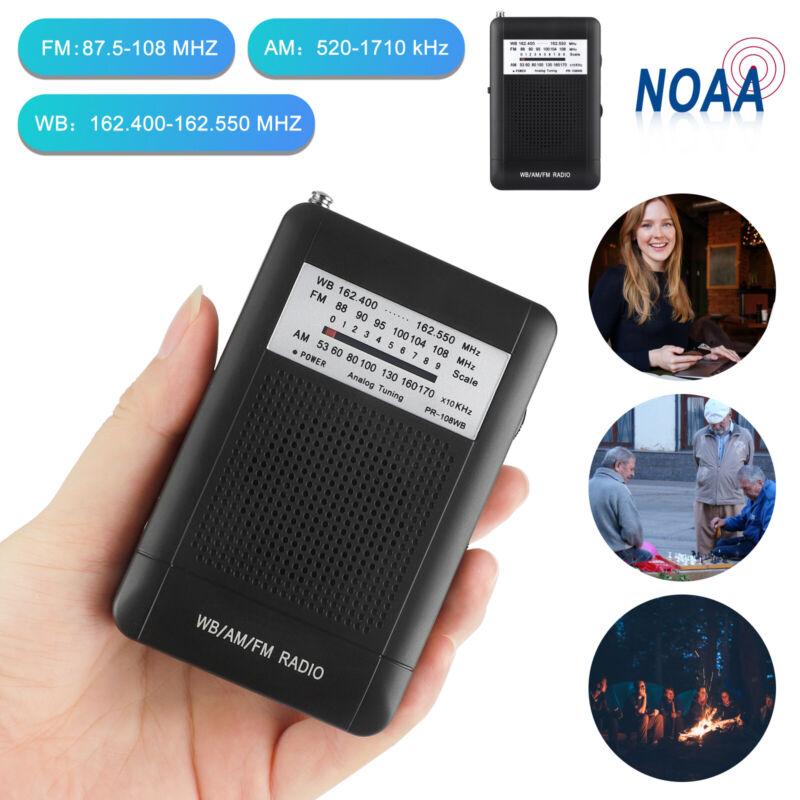 Pocket Handheld AM/FM/NOAA Weather Emergency Radio w/Speaker for Camping Hiking