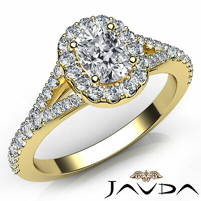 Split Shank Halo Cushion Diamond Engagement French Pave Set Ring GIA G VS2 1 Ct