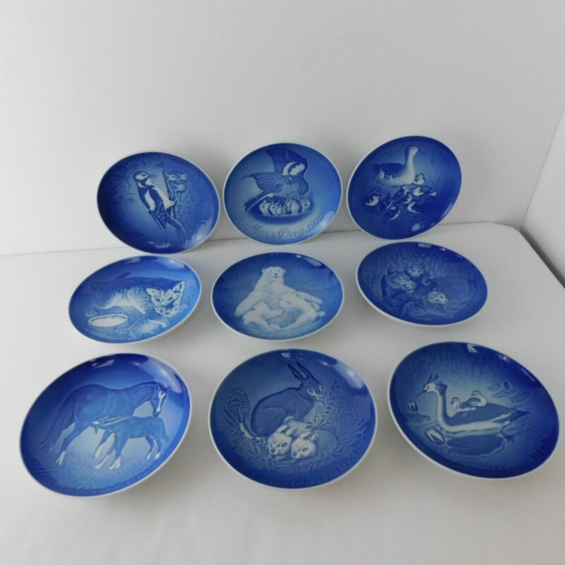 "Royal Copenhagen 9 Mors Dag/Mothers Day 6"" blue collector plates 70-74,78&80-82"