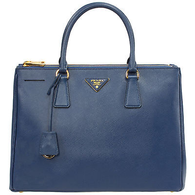 NEW Prada Lux Saffiano Double Zipper Large Baltico Satchel Hangbag Navy 1BA274
