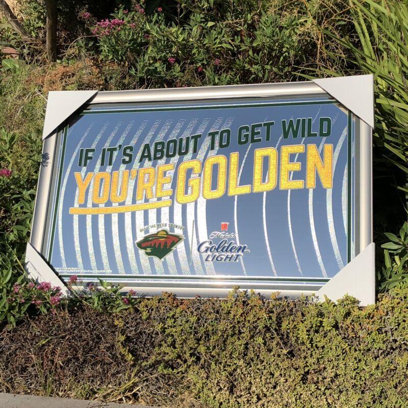 "Michelob Golden Light Minnesota Wild NHL Hockey Beer Bar Man Cave Mirror ""New"""