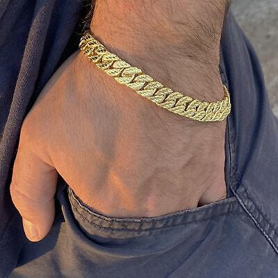 "Mens 14k Gold Plated Diamond Cut Diamond Dust Bracelet Hip Hop Wrist Chain 9"" in"