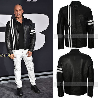 Fate of the Furious 8 Premiere Vin Diesel Classic Moto Black Leather Jacket ()
