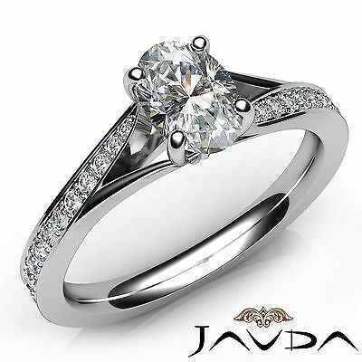 Split Shank Micro Pave Oval Diamond Engagement Cathedral Ring GIA F VVS1 0.85Ct