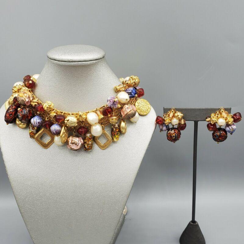 """Unsigned Designer Murano Poured Glass Bead Mesh Choker 16"""" & Clip Earrings"""