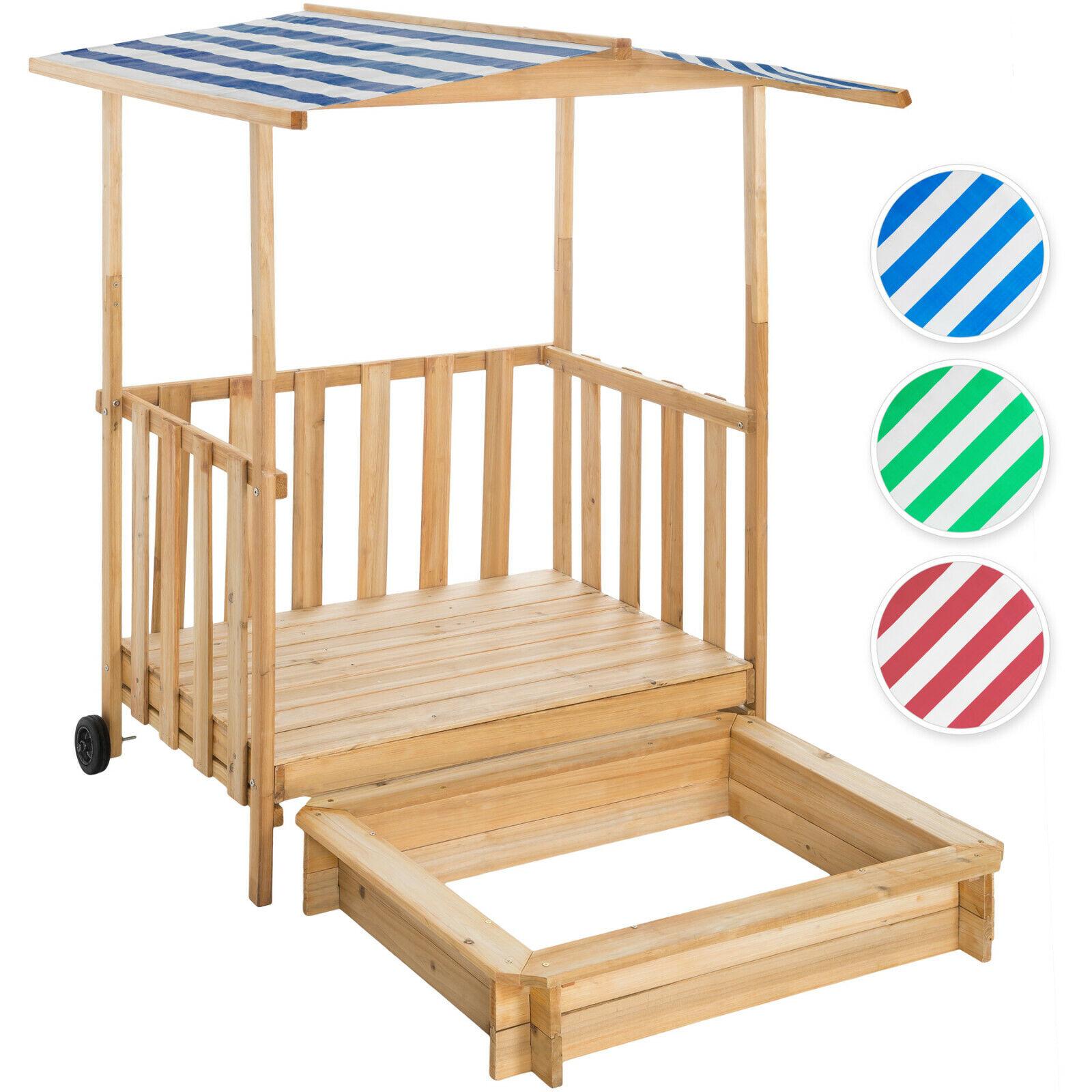Sandkasten mit Dach Spielhaus Spielveranda aus Holz Sandbox Sandkiste mit Deckel