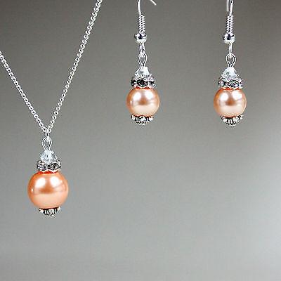 Peach pearls pendant necklace drop earrings wedding bridesmaid bridal silver set