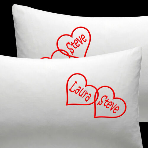 Personalised+EMBROIDERED+pillow+cases+Cotton+Anniversary+Husband+Christmas+gift
