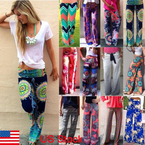 $3.79 - Women Boho High Waist Floral Palazzo Pants Wide Leg Long Trousers Loose Culottes