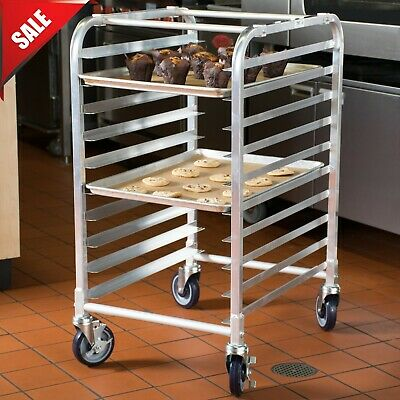 10 Pan End Load Half Height Bakery Bun Sheet Pan Speed Rack Aluminium Rolling