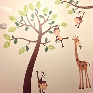 Monkey Tree Jungle Kids Nursery Wall Art Stickers, Wall Decals, Wall Graphics