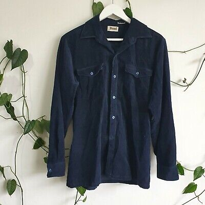 1970s Men's Shirt Styles – Vintage 70s Shirts for Guys Vintage 70s Navy Cord Button Up Shirt S-M Men's/Unisex Corduroy Jacket Skate $32.64 AT vintagedancer.com
