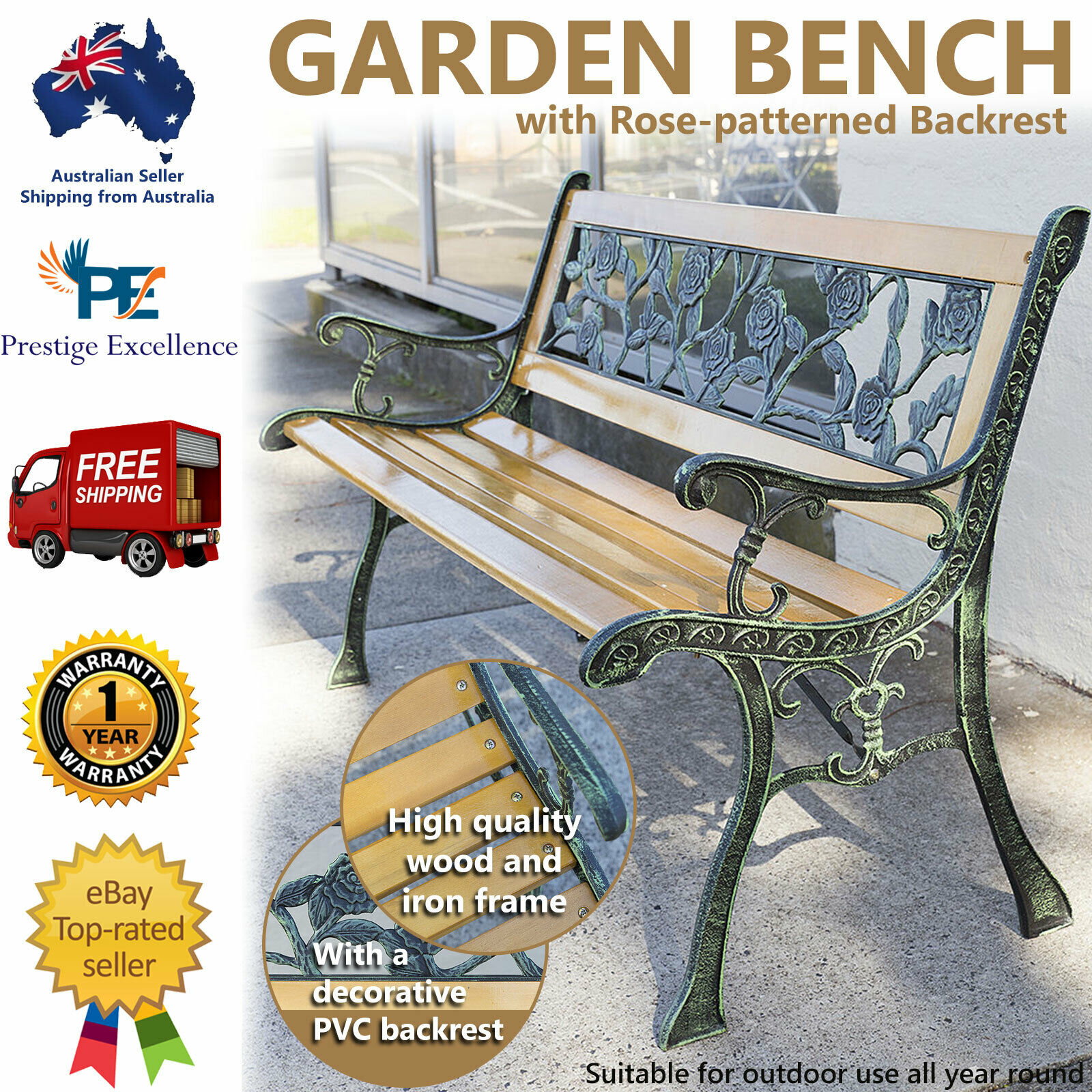 Garden Furniture - Wooden Garden Bench Outdoor Furniture Park Patio Seat Lounge Chair Timber Metal