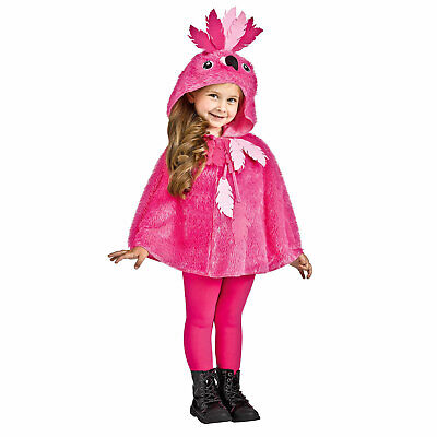 Child Toddler Girl's Pink Flamingo Bird Halloween Costume Hooded Cape Top 3T-6