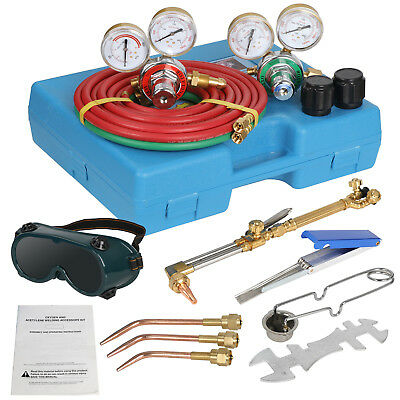 15 Pcs Gas Welding Cutting Kit Oxygen Torch Acetylene Welder Tool Set W Case