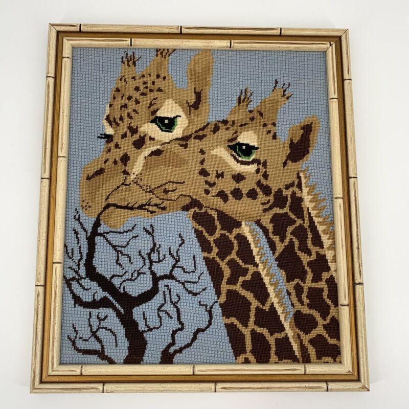 Giraffe Needlecraft Framed Tapestry Bamboo Style Safari Vintage Wall Decor