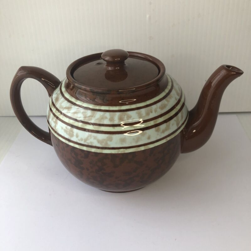 Sadler Original Brown Betty Teapot  Made In England Redware  Striped Bands